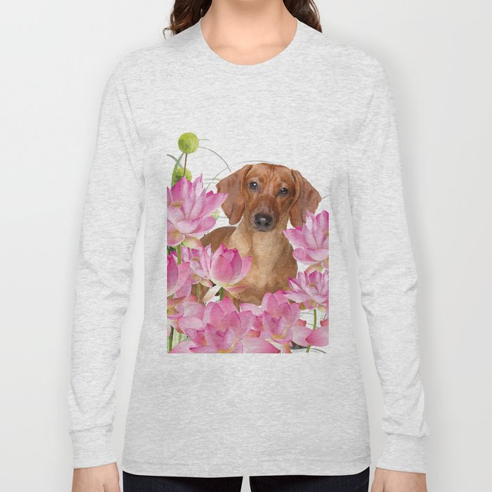 Dog in Field of Lotos Flower Long Sleeve T-shirt
