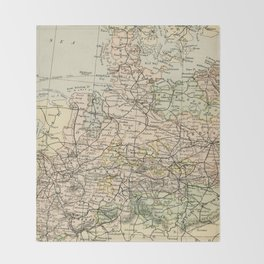 Old and Vintage Map of Germany Outline Throw Blanket