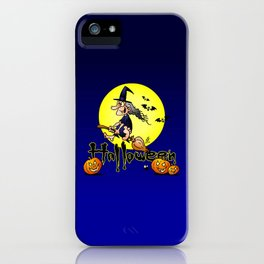 Halloween, witch on a broom, bats and pumpkins iPhone Case