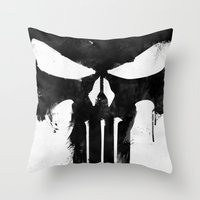 punisher Throw Pillows featuring Punisher Black by d.bjorn