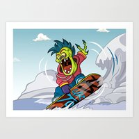 snowboarding Art Prints featuring Snowboarding by Brain Drain Fox
