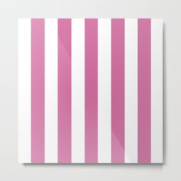 Wild orchid pink - solid color - white vertical lines pattern Metal Print