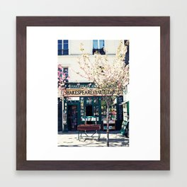 Cherry blossoms in Paris, Shakespeare & Co. Framed Art Print