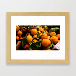 A Photo of Oranges with Green Stems Framed Art Print