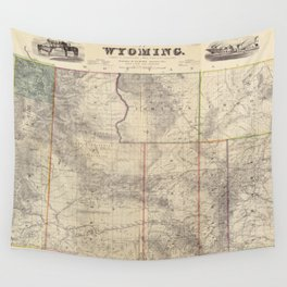 Vintage Map of Wyoming (1883) Wall Tapestry