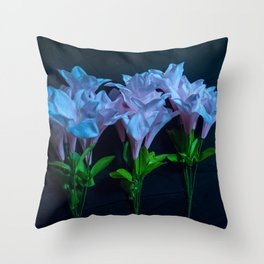 pink and blue flowers on black Throw Pillow