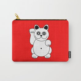 Good Luck White Cat On Red Background Carry-All Pouch