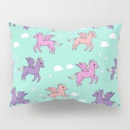 Pegasus pattern drawing cute kids neon print clouds unicorns by andrea lauren Pillow Sham