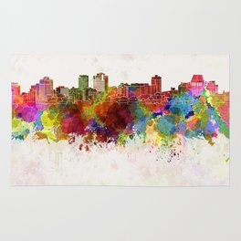 Christchurch skyline in watercolor background Rug