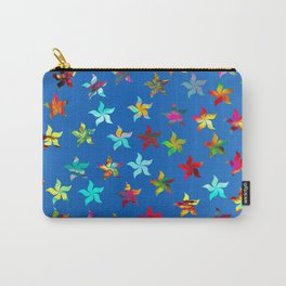 Colorful Pinwheels on Blue Background Carry-All Pouch