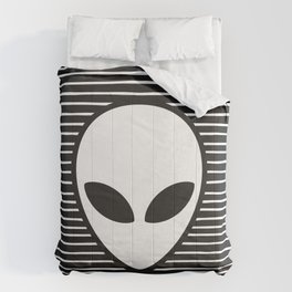 Alien on Black and White stripes Comforters