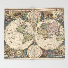 Vintage Map of The World (1690) Throw Blanket