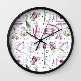 Love Note watercolor pattern Wall Clock