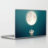 bunnies Laptop & iPad Skins featuring moon bunnies by Laura Graves