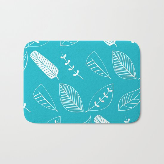 Leaves on turquoise II Bath Mat