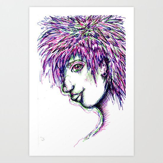 Girl w/ multi-colored hair  Art Print