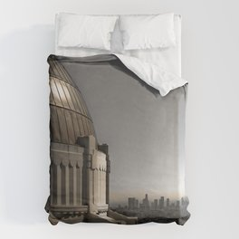 Griffith Park Observatory with Downtown LA Skyline Duvet Cover