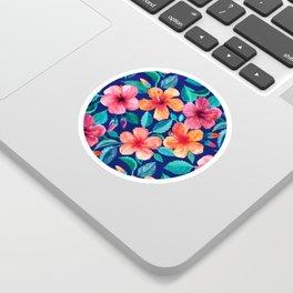 Colorful Watercolor Hibiscus on Indigo Blue Sticker