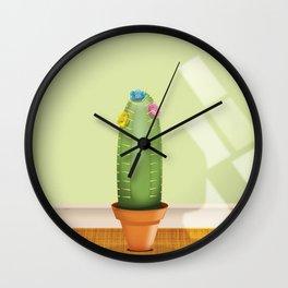 Cactus plant flowering. Wall Clock