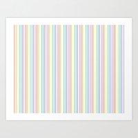 Pinstripe Rainbow White  Art Print
