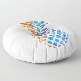 Watercolor and Splatter Pineapple I Floor Pillow