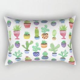Watercolor Cactus + Succulents Rectangular Pillow