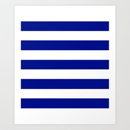 Phthalo blue - solid color - white stripes pattern Art Print
