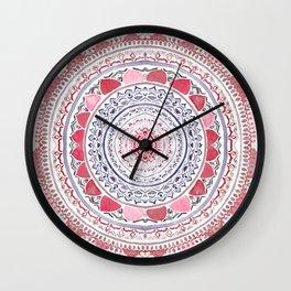 Red & Leisure Blue Mandala Wall Clock