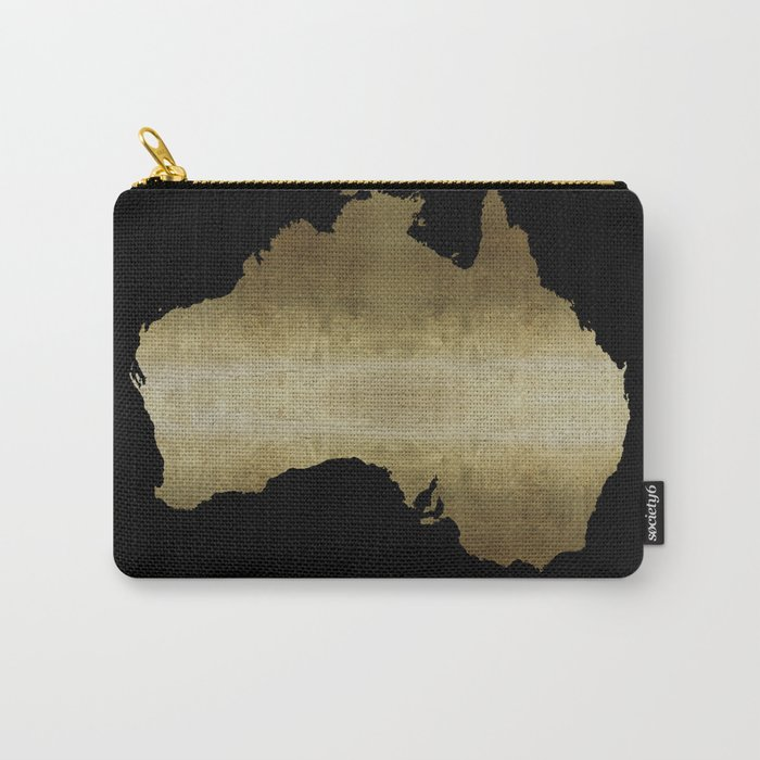 australia map gold foil black background Carry-All Pouch