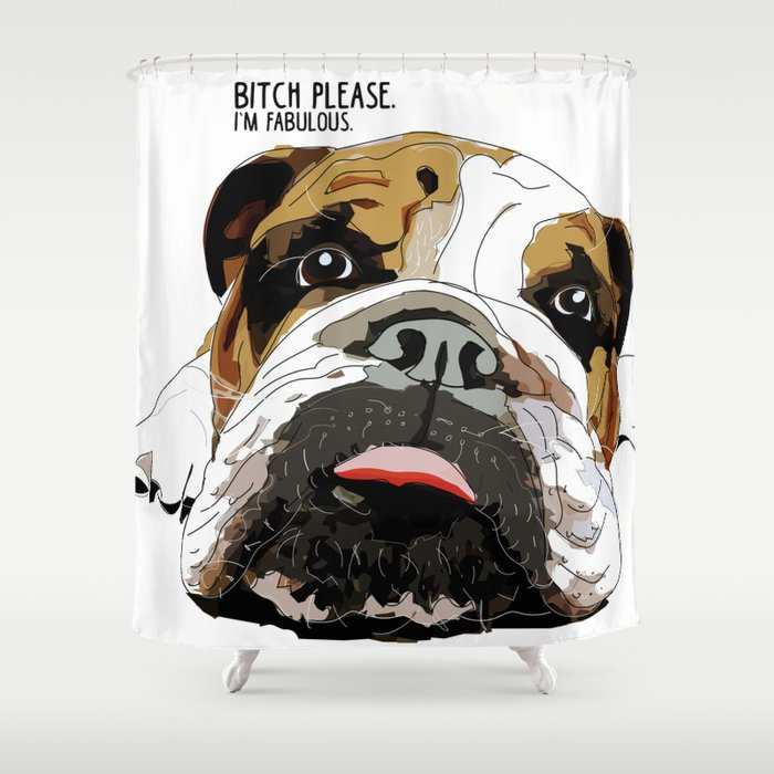 English Bulldog Shower Curtain By Gangsterrapandcoffee