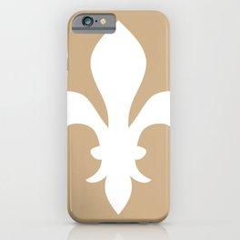 Fleur de Lis (White & Tan) iPhone Case