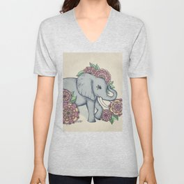 Little Elephant in soft vintage pastels Unisex V-Neck