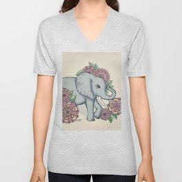 Little Elephant in soft vintage pastels Unisex V-Neck