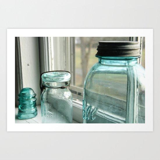 Blue Masons In The Window Art Print