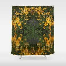 YELLOW RUDBECKIA DAISIES WATER REFLECTIONS Shower Curtain