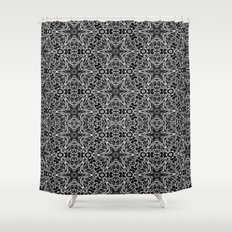 Black and white stars and squiggles 5015 Shower Curtain