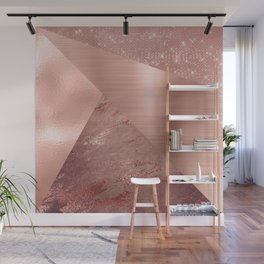 Rose Gold Mixed Texture Geometric Pattern Glitter Foil Sparkle Wall Mural