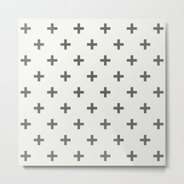 White Grey Swiss Cross Metal Print