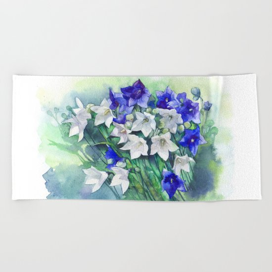Campanula watercolor flowers, aquarelle bellflowers Beach Towel