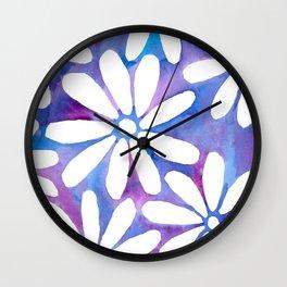 Magical watercolor daisies Wall Clock