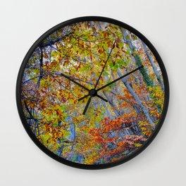 Deep forest. Autumn. Wall Clock
