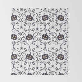 happy hallowen curves and pumkins pattern Throw Blanket