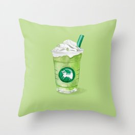 Matcha Cat-te Throw Pillow