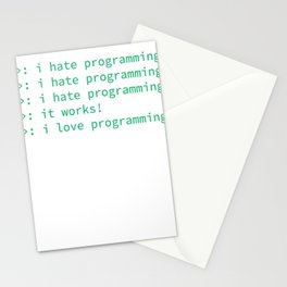 programmer codes hate nerdy geek funny gift hate Stationery Cards