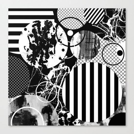 Black And White Choas - Mutli Patterned Multi Textured Abstract Canvas Print