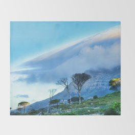 Table Mountain blanketed in cloud Throw Blanket