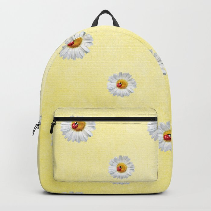 Daisies in love- Yellow Daisy Flower Floral pattern with Ladybug on #Society6 Backpack