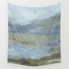 Diptych II - Sky Gray Blue Sage Green Abstract Wall Art, Painting Art, Lake Nature Print Portrait Wall Tapestry