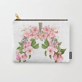 Botanical Blooming Flower Lungs Anatomy Print Floral Art Gift  Carry-All Pouch