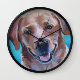 Yellow Lab Pastel Dog Portrait Wall Clock